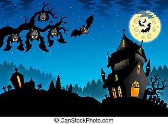 Halloween landscape with mansion - color illustration.