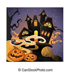 Halloween landscape with pumpkins