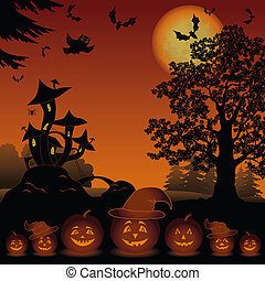 Halloween cartoon landscape with pumpkins Jack-o-lantern, moon, magic Castle - mushroom, owl, trees and bats. Element of this image furnished by NASA (www. visibleearth. nasa. gov).
