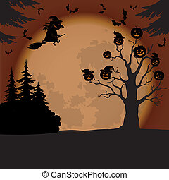 Halloween landscape with witch and pumpkins