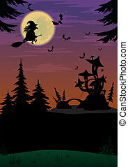 Halloween landscape with witch - Holiday Halloween night...