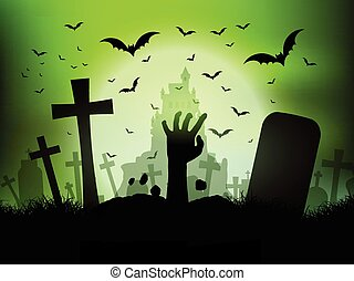 halloween landscape with zombie hand in graveyard