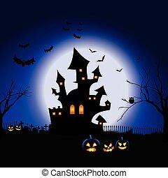 halloween, landschaftsbild, gespenstisch