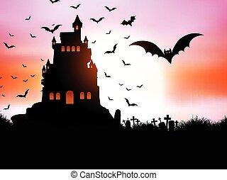 halloween, landschaftsbild