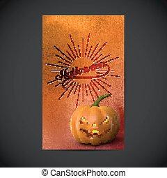 halloween, lantern., acquarello, aviatore, cricco, zucca