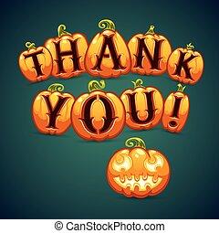 halloween, lei, dice, ringraziare, zucca