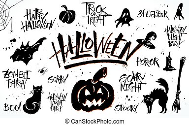 Halloween lettering and clip art set