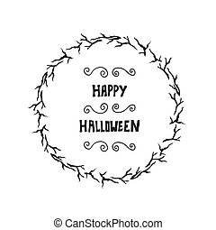 Halloween lettering greeting card background.