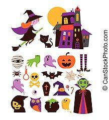halloween, lindo, vector, icono, conjunto