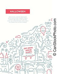 Halloween - line design brochure poster template A4 -...
