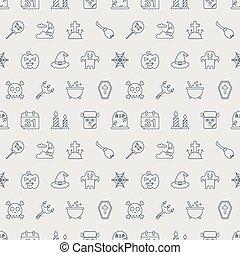 Halloween line icon pattern set