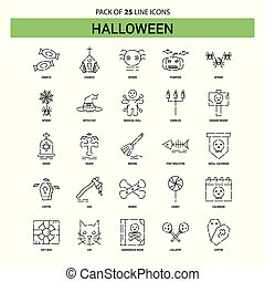 Halloween Line Icon Set - 25 Dashed Outline Style