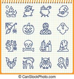 Halloween line icon set Hand drawn pen effect