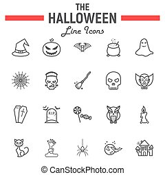 Halloween line icon set, scary symbols collection, horror holiday vector sketches, logo illustrations, party signs linear pictograms package isolated on white background, eps 10.