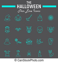 Halloween line icon set, scary symbols collection, horror holiday vector sketches, logo illustrations, party signs linear pictograms package isolated on black background, eps 10.