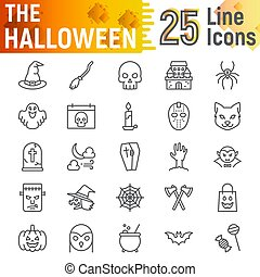 Halloween line icon set, spooky symbols collection, vector sketches, logo illustrations, horror signs linear pictograms package isolated on white background, eps 10.