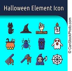 halloween, linjär, ikon, färg