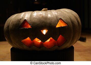 halloween, lit, calabaza