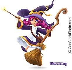 halloween., litera, 3d, wektor, sorceress., rysunek, czarownica, szczęśliwy, mały