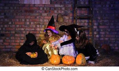 Halloween Little Monster Doing Magic With Pumpkin