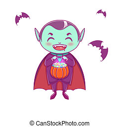 Halloween little vampire Dracula. Boy kid with smiling face in halloween costume with pumpkin in his hands.