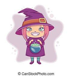 Halloween little witch. Girl kid in halloween costume with cauldron. Vector illustration.