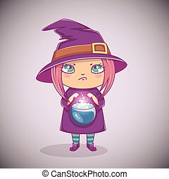 Halloween little witch. Girl kid with angry face in halloween costume with cauldron. Vector illustration.