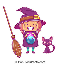 Halloween little witch. Girl kid with smiling face in halloween costume of witch with cauldron, black kitten and broom.
