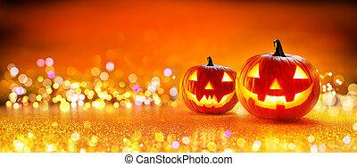 halloween, lumières, citrouille