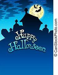 halloween, lycklig, kyrkogård, underteckna