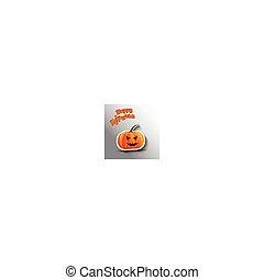 halloween, märke, -, grå, illustration, bakgrund., vektor, pumpa