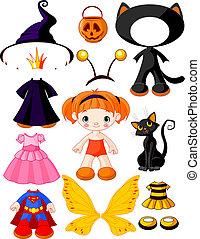 halloween, m�dchen, papa, kleidet