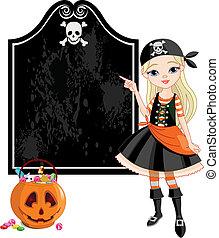 halloween, m�dchen, pirat, zeigen