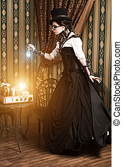 halloween magic - Portrait of a beautiful steampunk woman...