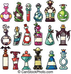 A set of magic potion bottles set - great for Halloween projects, games, websites, where you need some special bottles: magic potion, poison, love potion, snake venom, spider venom, elixir.