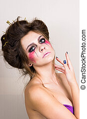 halloween make up beautiful model with perfect hairstyle.