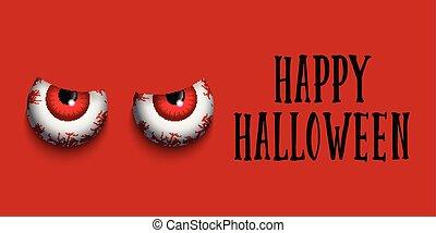 halloween, mal, yeux, bannière