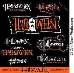 halloween, mano, iscrizione, set, vettore