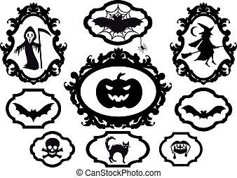 halloween, marcos, vector
