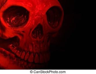 halloween, maskera, röd