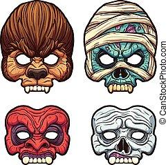 Halloween masks. Vector clip art illustration with simple...