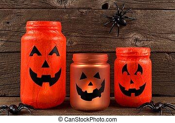 Halloween mason jar Jack o Lanterns