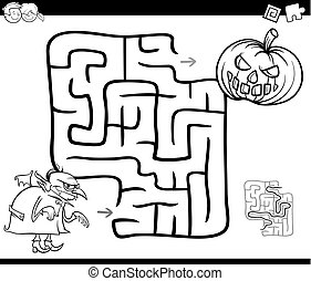 halloween maze activity for coloring - Black and White ...