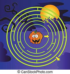 Halloween Maze for children with funny pumpkin