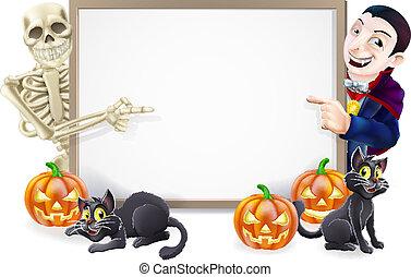halloween, meldingsbord, met, skelet, en, dracula