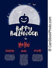halloween, menú, diseño