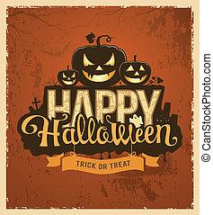 halloween, mensaje, diseño, calabaza