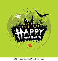 halloween, mensaje, diseño, feliz