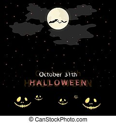 halloween, mensaje, diseño, fondo.
