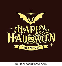 halloween, mensaje, feliz, silueta, diseño